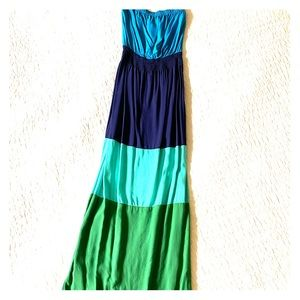 Strapless Colorblock Maxi Dress